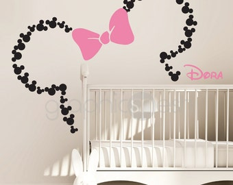 Mickey Mouse Inspired Ears With Bow U0026 PERSONALIZED BABY NAME / Minnie Mouse  Inspired Wall Decals