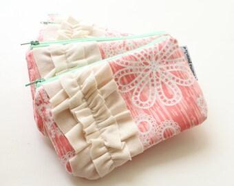 mini ruffle clutch -- coral & mint