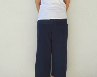 T-Shirt Capris Cropped Tee Pants Women's Pants Navy Blue Upcycled S - M Cotton Pants Gifts for Her Handmade Girls Cropped Pants ohzie