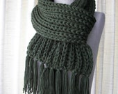 Classic Rib Chunky Hand Knit Scarf in Anti Pill Acrylic Vegan Unisex  in Black, White, Pine Green, Red, Blue, Tan, Cream