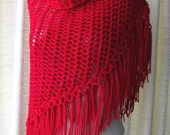 LOVE Hand Knitted Triangle Scarf Shawl in RED SOFT Acrylic