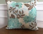 Throw Pillow Cover - Pillow Sham - Decorative Pillow - Hydrangea Print - 14, 16, 18, 20 inch - Teal Blue Pillow - white brown - designer