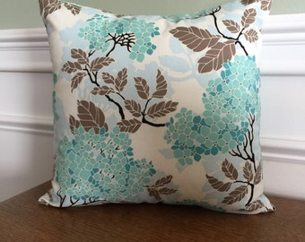 Throw Pillow Cover - Pillow Sham - Decorative Pillow - Hydrangea Print - 14, 16, 18, 20 inch - Teal Blue Pillow - white brown - designer