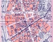 PARIS street map of Boulounge-Billancourt - 1940s Paris tourist guide map