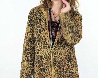 Vtg 90s Sassy SATIN Reversible LEOPARD PRINT & Gold Quilted Jacket Sz Med Lrg Boudoir Animal Print Cougar Luxury