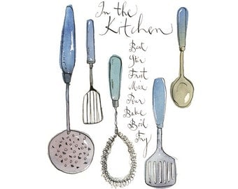 Vintage utensils, Blue kitchen decor, Retro Kitchen print, Kitchen art print, Retro poster, 8X10 print, Quote wall art, Giclee quote print