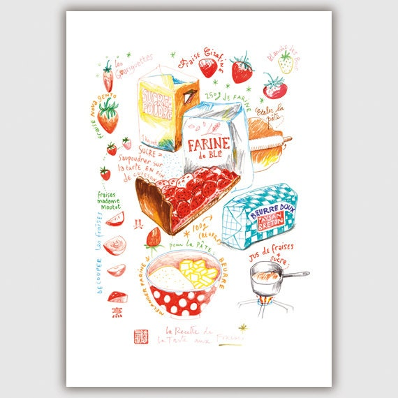 Strawberry pie illustrated recipe poster - 8X10 Kitchen print - Bakery drawing - Cake poster - Red Home decor - Food art print, Giclee print