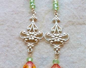 Tiny Raspberry Lemonade Bell Flower Earrings