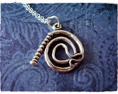 Silver Whip Necklace - Sterling Silver Whip Charm on a Delicate 18 Inch Sterling Silver Cable Chain