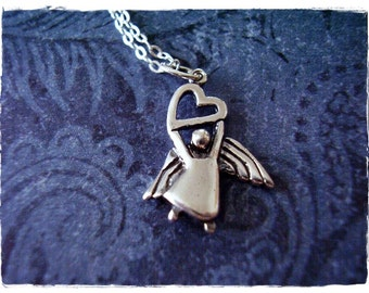 Silver Angel of Love Necklace - Sterling Silver Angel of Love Charm on a Delicate Sterling Silver Cable Chain or Charm Only