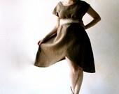 Linen dress, linen tunic dress, asymmetrical dress, rustic dress, organic dress, short sleeve dress, women dress, brown dress, fairy dress