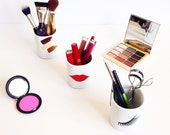 Organizational Makeup Holders - Calligraphy and Descriptive Images - Hand Painted