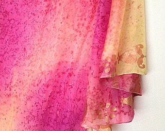 Pink Yellow Orange Silk half circle belly dance veil