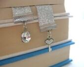 Silver Key Bookmark, Crystal Charm Skeleton Key, Gift for Reader