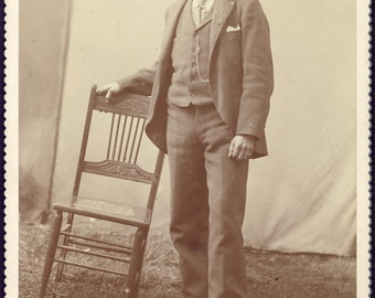 Man Holds CROOKED CHAIR In Unusual Cabinet Card Photo Circa 1890s