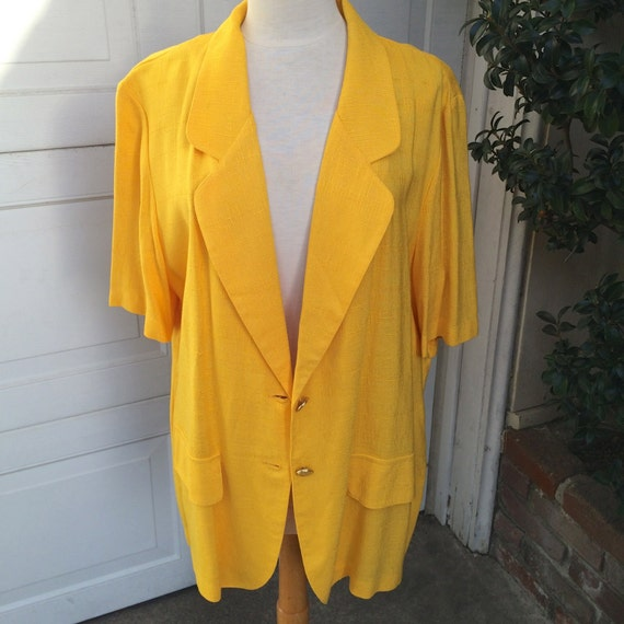Bright Yellow Linen Short Sleeve Blazer | Oversize XL size 18 Jacket Women