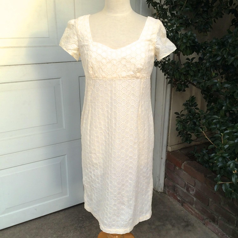 Empire waist ivory eyelet short wedding dress 60s by for Ivory empire waist wedding dress