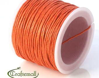 SALE 50% OFF: Orange waxed cotton cord - 1mm waxed cotton cord - 1 roll (25meters)