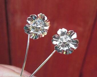 Hollyhock flower earrings sterling silver earrings jewelry dangle earrings cute small stud earrings long stem earrings Threader Holly E-169