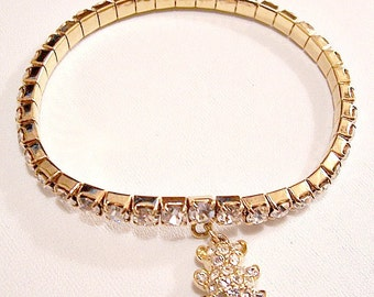 Monet Teddy Bear Crystal Stretch Bracelet Gold Tone Vintage Clear Round Prong Set Faceted Stones Expandable Links Charm Dangle