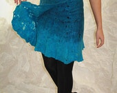 Felted blue turquoise  skirt cobweb Felt light luxury original all season open work Regina Doseth handmade in Lithuania EU
