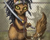 The Walking Dead: Michonne Cat - 8x10 art print - Michonne with her samurai sword and chained zombie mice companions