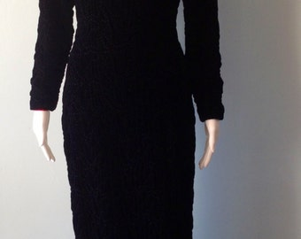 Stunning Vintage 1980s Black Velvet Quilted Peggy Jennings Maxi Fitted Dress