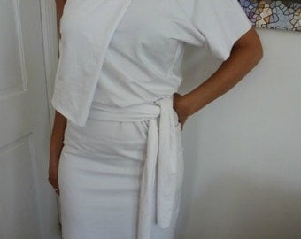 White cotton lycra dress with one sleeve