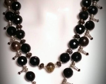 Catalina Onyx Bali Silver Tiger Eye Pendant Dual Purpose Single or Double Strand Necklace