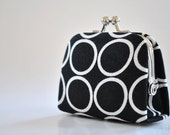Ring Toss in Black - Tiny Kiss lock Coin Purse/Jewelry holder