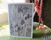 Blank art card greetings card A6  6 x 4 inch Flowers from a wild orchid meadow Modern floral organic botanical design Duck egg blue