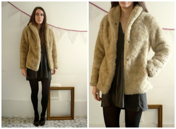 Vintage Cropped Mink Light Brown Faux Fur Winter by ...