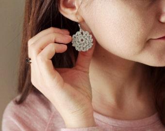 Custom Color Crochet Earrings , Circle Shape Cotton Earrings, Bohemian Jewelry, Boho Earrings, gift for women, Anniversary Handmade Gift