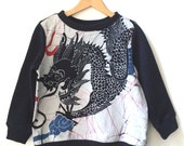 SWEATER COSY DRAGON, Wide, Navy Blue Children's Sweater with Chinese Dragon Batik Front,made of soft Cotton Sweatshirt Jersey, Long Sleeves