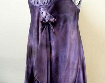 Slip Dress - Shibori upcycled Babydoll Slip Dress Ribbon and Lace Deep Purple Watercolor Tunic Lingerie Art Clothing OOAK Boho Valentine