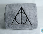 Deathly Hallows Inspired Embroidered Towel Hand or Kitchen