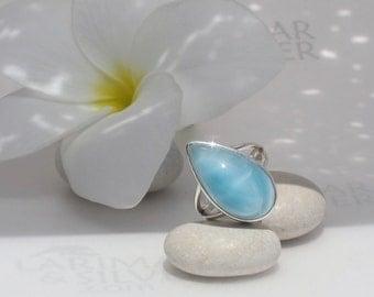 Larimarandsilver ring size 6, Sky Princess, crystal blue Larimar pear, angel ring, azure ring, Swiss blue, topaz blue, handmade Larimar ring