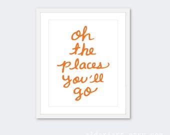 Oh The Places You'll Go Nursery Art Print - Nursery Quote Art - Nursery Art - Travel Typography Poster - Nursery Wall Art - Baby Boy Nursery