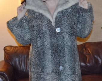 RARE & FAB  Vintage Silver Gray Persian Lamb Long Coat w/ Big Cerulean Mink Collar / Large Plus Size L XL 12 14/  Bust 48'' /50es 60es Era
