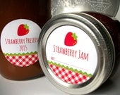 Gingham Strawberry Canning jar labels, round red stickers for mason jars, fruit preservation, jam and jelly jars, preserves, cottage chic