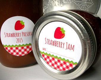 Gingham Strawberry canning jar labels, round red canning labels for mason jars, fruit preservation, jam and jelly jar labels, cottage chic