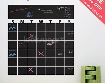 Chalkboard Wall Calendar Decal – Removable Chalkboard Decal - Dry Erase Board Decal - Chalkboard Organizer - 0127
