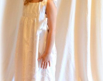 White Eyelash Lace and Satin First Communion - Flower Girl Dress Size 7/8 Ready to Ship MB10015