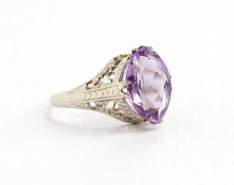 Sale - Vintage 14k White Gold Filigree Amethyst Ring - Antique Size 5 1/2 Art Deco 1920s February Birthstone Fine Jewelry E.L. Spencer Co