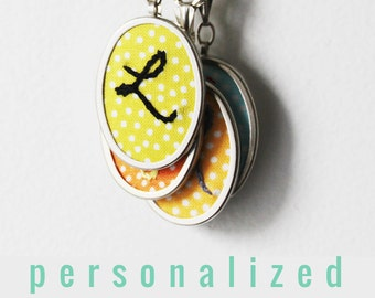 Initial Jewelry. Hand Embroidered Pendant. Personalized Modern Hand Embroidery Necklace. Colorful Monogram, Letter Necklace. Gifts for Teens