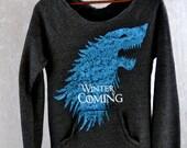 Winter Is Coming Sweatshirt Game of Thrones Sweatshirt Direwolf Sweatshirt Arya Stark Jon Snow Sweatshirt The North Remembers Winterfell