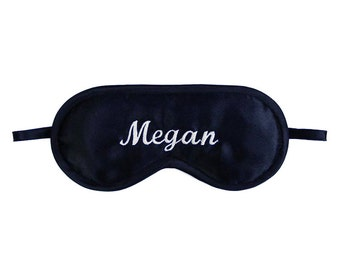 Personalized name sleep mask, Name embroidery eye mask, Customized gift for him her, Black satin accessories, Name of your choice, Your text