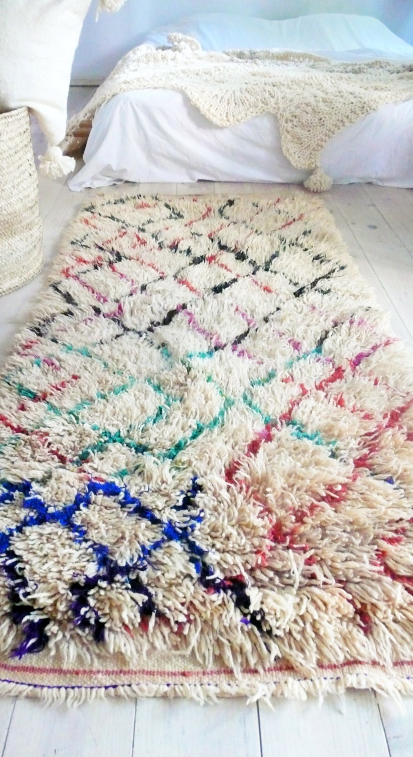 Vintage Moroccan Rug Natural Virgin Wool Azilal Rug