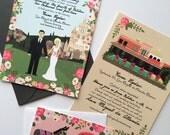 Invite Card, RSVP, & Map/Reception Card : Custom Illustrated Wedding Invitations