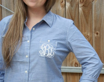ON SALE Monogrammed Chambray Button Down Shirt